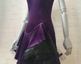 Dark Purple Dress Stretch Velvet With Ruffled Asymmetrical Hem