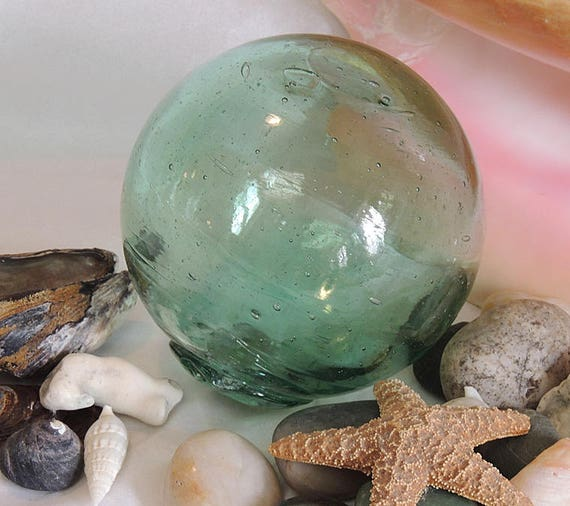"""Vintage 13"""" In Circumference Japanese GLASS FISHING FLOAT Many Bubbles & Striations (#43)"""