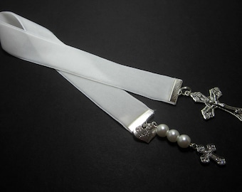 Christian Ribbon Bookmark White Velvet Ribbon Confirmation Baptism Bible Bookmark White Glass Beads Rhinestone Cross Baptism Heart 151B