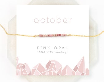 Delicate Pink Opal Beaded Necklace, Blush Pink Gem Bar, Opal Necklace, October Birthstone, Birthday Gift, Healing Stone, Everyday Necklace
