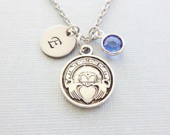 Claddagh Necklace, Irish Necklace, Love Jewelry, Friendship, Swarovski Birthstone,Silver Initial,Personalized, Monogram,Hand Stamped Letter