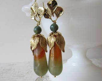 Long Agate Teardrop Dangles // 14k Gold, Brass, Gemstone Earrings