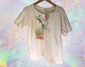 Ivory Beige 90s Grunge Spliced T Shirt Worlds Best Mom Flying Dog Ale T Shirt Unisex size Large