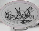 """Alice in Wonderland Platter, 14"""", Foodsafe, Durable, Wonderland Plate, Alice Dish, CUSTOMIZABLE With Any Alice Design, Color or Black/White"""