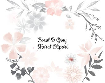 Watercolor Coral & Grey Floral Clip Art High Resolution Graphic Greeting Scrapbooking