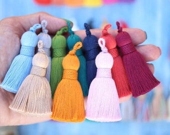 "NEW Plush Cotton Tassels with Twisted Rope Binding, FALL Colors, 2.75""  Handmade Interior Decorative Tassels, Jewelry Tassels, Passementerie"