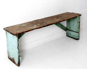 antique primitive wood bench, rustic green bench