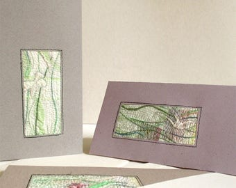 Elegant cards with botanical embroidery