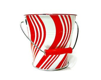 Enamelware Ice Bucket - Vintage Golden Rabbit - Red and White Striped Sand Pail with Handle - Container