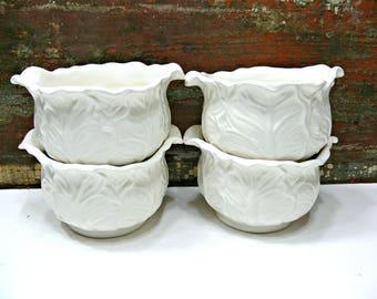 White Porcelain Soup or Fruit Dessert Bowls with Leaf Pattern - Set of 4-  Vintage Wedding & Farmhouse Kitchen Decor