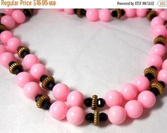 SALE Pink Necklace 2 strands with Black & Gold Vintage Plastic 60s Mod