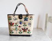 Vintage Enid Collins Bag, Glitter Bug, Vintage Shoulder bag, Canvas Handbag, 1960s, Insects, Flowers, Jewel Tone