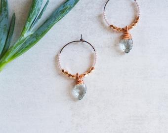 Rose Gold Hoop Earrings, Faceted Quartz Drop, Blue Aquamarine Color, Cubes, Boho, Minimalist Jewelry, Beaded Hoop Earrings, Dainty Hoops