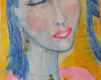 Missing You Nr.2 .Original Abstract Woman Portrait. Figurative Art .Home Decor. Interior Decor . Wall Art .