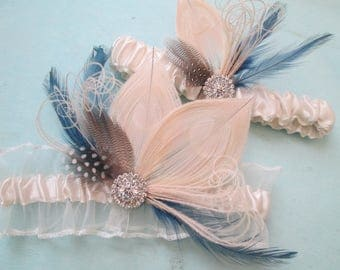 Blush & Navy Blue Garter Set, Peacock Garters, Ivory Sheer Rustic Bridal Garters with Feathers, Something Blue Garter, Gatsby Bride Garter
