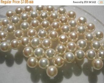 SPECIAL Vintage Swarovski Cream Pearls 6mm half drilled made in Japan QTY - 2