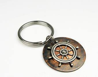 Sailing Key Chain - Unique Rustic Nautical Keychain or Boat Steering Wheel Key Holder for a Sailor Gift