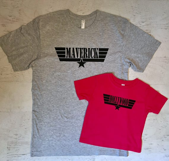Father's Day Daddy and Baby Matching shirts Maverick and Hollywood Heather Grey and Hot Pink printed in Black