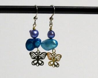 Blue double baroque freshwater pearls with golden butterfly earrings.   #EAR-201