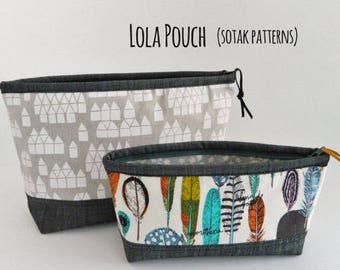 Lola Zipper Pouch {PDF sewing pattern} , instant download, pattern, zipper binding, pencil make up pouch, project pouch, two sizes, sewing