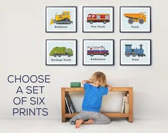 Truck Prints, Boys room decor, transportation wall art, Toddlers rooms, Vehicle Prints, Kids room wall art, nursery decor, colourful prints