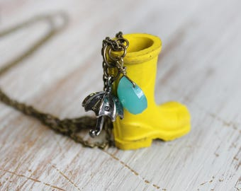 Unique Necklace For mom - Rain Necklace - Gardener Gift - Umbrella Necklace - Boot Necklace - Boot Charm - Boot Jewelry - Umbrella Jewelry