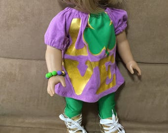 18 inch doll (modeled by American Girl) Irish set with coordinating bracelet and optional gold boots