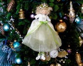 Mistletoe Holiday Doll, Christmas Hanging Doll, Shelf Sitter Doll, Ivory and Green Christmas Decor