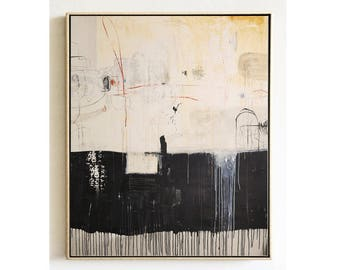 "60""x50""abstract painting  black/creme original painting by jolina anthony"