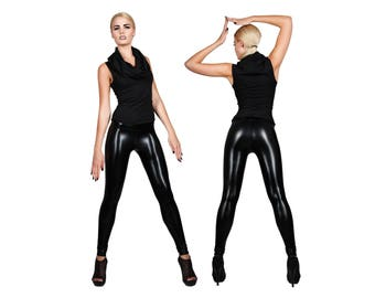 Black Leather Leggings , Shiny Spandex Pants, Meggings, Sexy Dance Wear, Heavy Metal, Stage Clothing, Glam Rock, Burning Man, by LENA QUIST