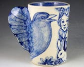 Big bird cup mug with wings faces, rabbit hearts blue and white ceramic