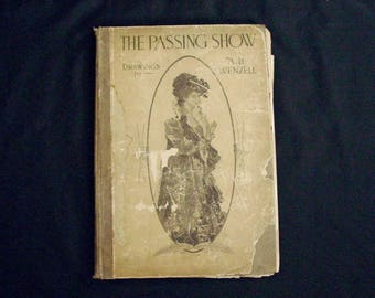 """The Passing Show 1903 A B Wenzell American Artist 16.5"""" x 11.5"""" Book Illustrations Drawings Nouveau Riche La Belle Epoche Victorian Angels"""