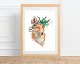 Foraging Mr Fox, animal portrait, watercolor print by Abigail Gray Swartz