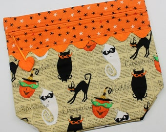 Big Bottom Bag Retro Halloween  Cross Stitch, Sewing, Embroidery Project Bag