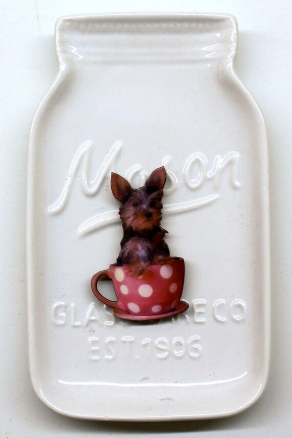 Yorkie in a Cup Needle Minder