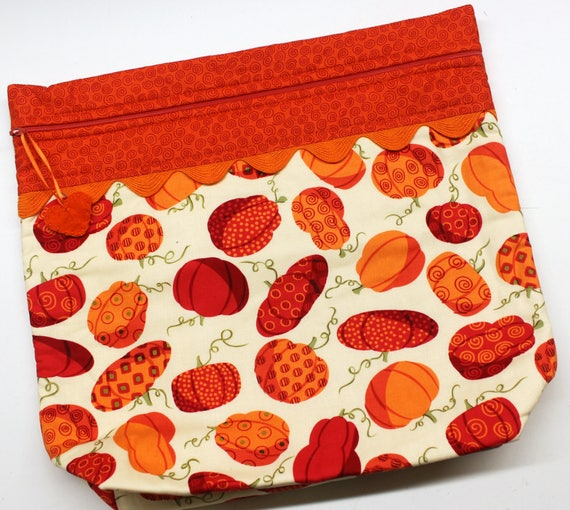MORE2LUV Fall Pumpkins Cross Stitch Embroidery Project Bag