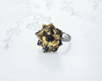 Japanese Origami Jewelry - Origami Flower Ring Adjustable Gunmetal Toned No.03500