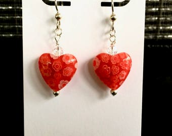 Heart Earrings in Red Millefiori Glass