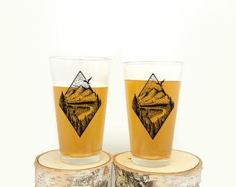Pint Glasses - River Mountain Forest Illustration - Set of two 16oz. Pint Glasses