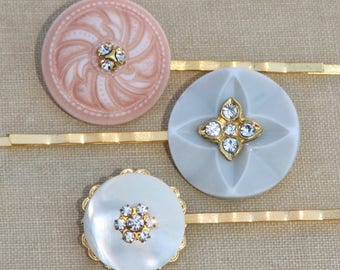 Set of Three Vintage Style Jeweled Button Bridal Bobby Pins,Pastel Blue,Coral Orange,Mother of Pearl,Bobby Pin Set,Gift Set,Bridal Hair Pins
