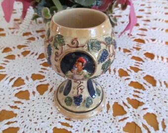 West Germany Gertz Stoneware Wine Goblet Lustreware Vintage