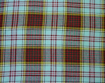 "Pretty Vintage Wool Fabric, Large Plaid, Soft, Colorful, 1 2/3 Yards, 56"" Wide"