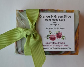 Orange & Green Slide Handmade Soap, Natural Soap