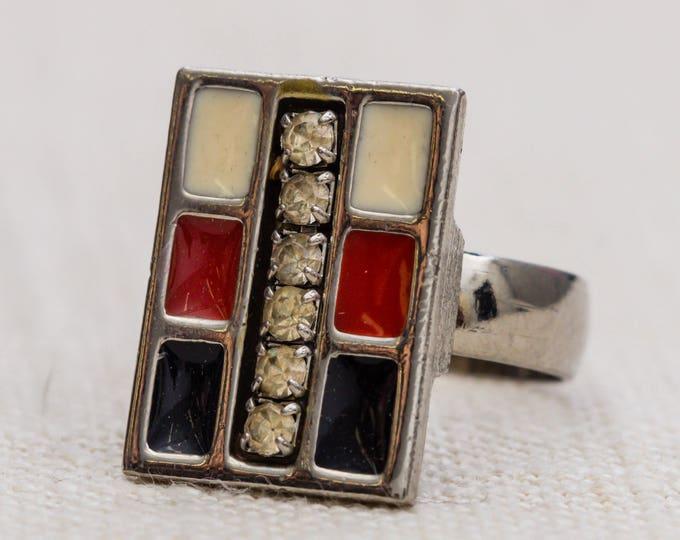White Red and Black Ring Silver Vintage Rectangular Enamel Rhinestones Statement Adjustable 7RI