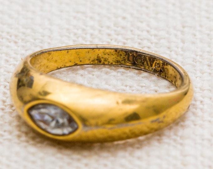 Marquise Inset Rhinestone Vintage Ring Gold Metal Avon US Womens Size 5 7RI