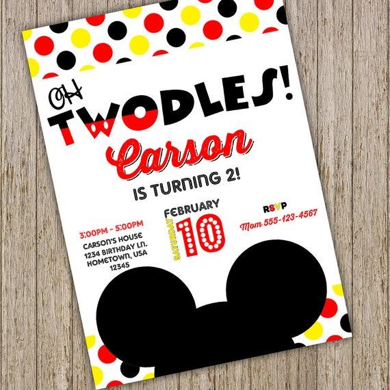 Mickey mouse invite 2nd birthday mickey invitations mickey il570xn stopboris Images
