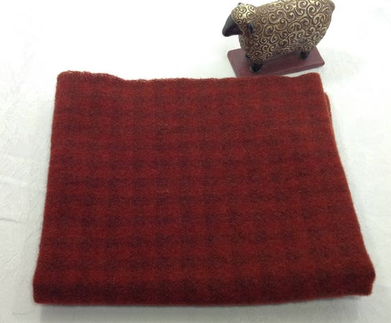 Old World Santa Red, Wool Fabric for Rug Hooking and Applique, Select-a-Size, W396, Mill Dyed Wool Fabric, Red Check Wool, Cranberry Red