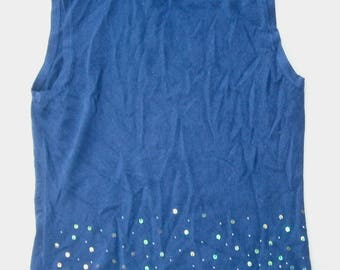 Vintage Dark Blue Sweater Top Lycra Mock Turtle Neck Knit Shirt Starry Midnight Paillettes Beads Blouse Sleeveless Large Navy Lycra Borealis