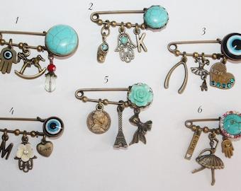 Baby pin, baby safety pin, evil eye pin, Hamsa pin, Brooch Elegant Kilt pin/safety pin brooch charm collection
