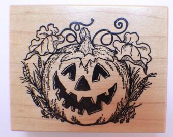 Jack O Lantern Pumpkin Halloween Carved Wooden Rubber Stamp
